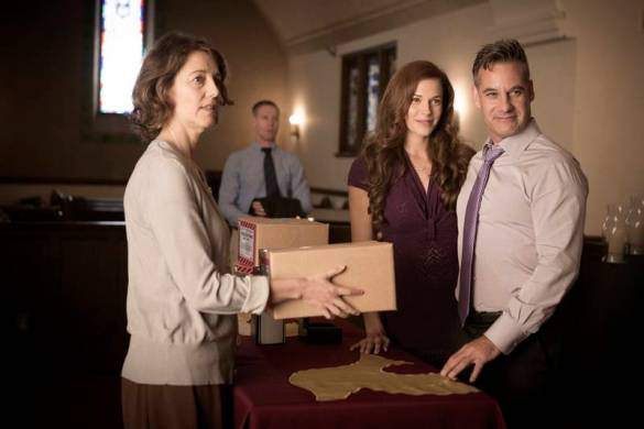Still photo with Amanda Righetti + Adrian Pasdar